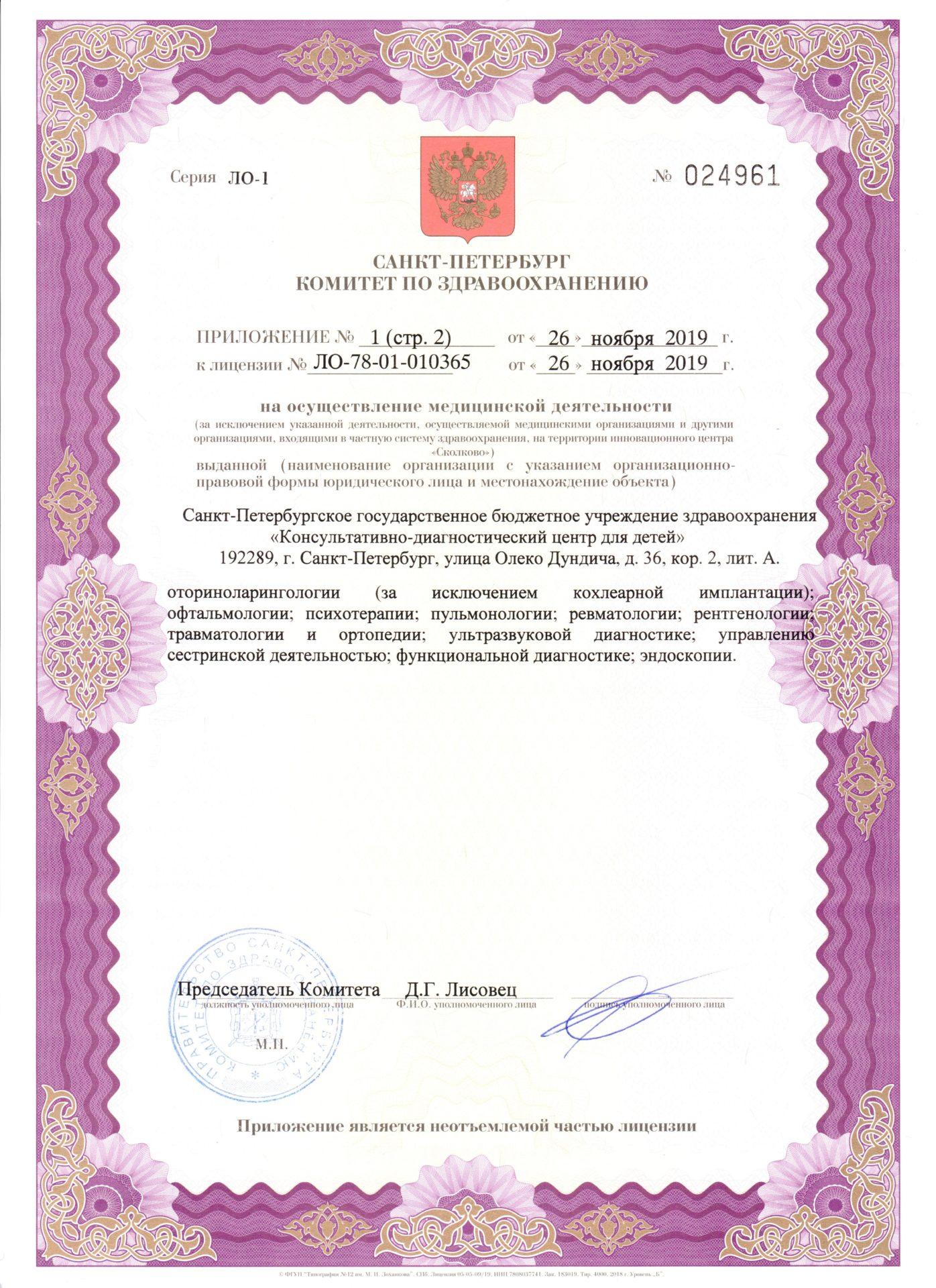 Лицензия на осуществление медицинской деятельности. Приложение 1.стр.2